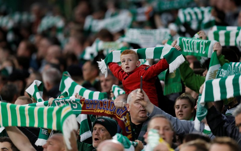 Image for Celtic Fans Celebrate On A Night When A Draw Is Enough To Get The Job Done.
